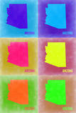 Arizona Pop Art Map 2 Plastic Sign by  NaxArt