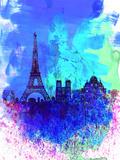 Paris Watercolor Skyline Plastic Sign by  NaxArt