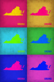 Virginia Pop Art Map 1 Plastic Sign by  NaxArt