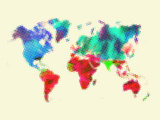 Dotted World Map 4 Plastic Sign by  NaxArt