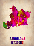 Barcelona Watercolor Map Plastic Sign by  NaxArt