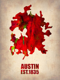 Austin Watercolor Map Znaki plastikowe autor NaxArt
