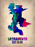 Sacramento Watercolor Map Plastic Sign by  NaxArt