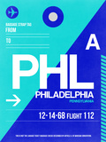 PHL Philadelphia Luggage Tag 1 Plastic Sign by  NaxArt