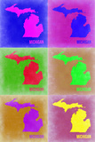 Michigan Pop Art Map 2 Plastic Sign by  NaxArt