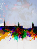 Stockholm Watercolor Skyline Plastic Sign by  NaxArt