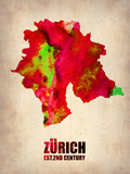 Zurich Watercolor Poster Plastic Sign by  NaxArt