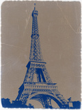 Eiffel Tower Blue Plastic Sign by  NaxArt