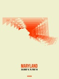 Maryland Radiant Map 3 Plastic Sign by  NaxArt