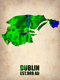 Dublin Watercolor Map Plastic Sign by  NaxArt