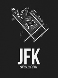 JFK New York Airport Black Plastic Sign by  NaxArt