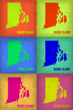 Rhode Island Pop Art Map 1 Plastic Sign by  NaxArt