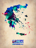 Greece Watercolor Poster Plastic Sign by  NaxArt