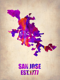 San Jose Watercolor Map Plastic Sign by  NaxArt