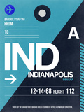 IND Indianapolis Luggage Tag 2 Plastic Sign by  NaxArt