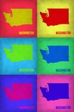 Washington Pop Art Map 1 Plastic Sign by  NaxArt