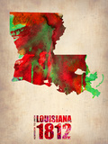 Louisiana Watercolor Map Plastic Sign by  NaxArt