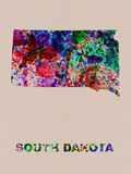 South Dakota Color Splatter Map Plastic Sign by  NaxArt