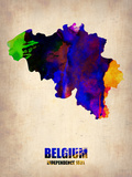 Belgium Watercolor Map Plastic Sign by  NaxArt