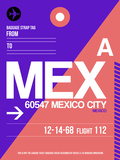 MEX Mexico City Luggage Tag 1 Plastic Sign by  NaxArt