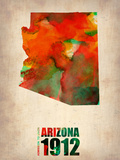 Arizona Watercolor Map Plastic Sign by  NaxArt