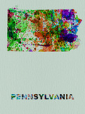 Pennsylvania Color Splatter Map Plastic Sign by  NaxArt