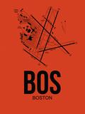 BOS Boston Airport Orange Plastic Sign by  NaxArt