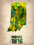 Indiana Watercolor Map Plastic Sign by  NaxArt