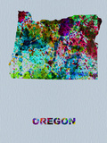 Oregon Color Splatter Map Plastic Sign by  NaxArt