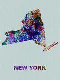 New York Color Splatter Map Plastic Sign by  NaxArt