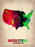 Usa Watercolor Map 2 Plastic Sign by  NaxArt