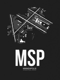 MSP Minneapolis Airport Black Plastic Sign by  NaxArt