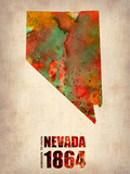 Nevada Watercolor Map Plastic Sign by  NaxArt