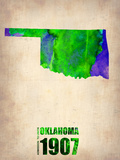 Oklahoma Watercolor Map Plastic Sign by  NaxArt