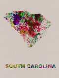 South Carolina Color Splatter Map Plastic Sign by  NaxArt