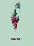 Israel Color Splatter Map Plastic Sign by  NaxArt