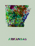 Arkansas Color Splatter Map Plastic Sign by  NaxArt