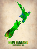 New Zealand Watercolor Map Plastikskilte af NaxArt