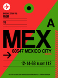 MEX Mexico City Luggage Tag 2 Plastic Sign by  NaxArt