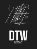 DTW Detroit Airport Black Plastic Sign by  NaxArt