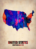 Usa Watercolor Map 1 Plastic Sign by  NaxArt