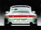 1993 Porsche 911 Rear Watercolor Plastic Sign by  NaxArt