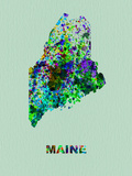 Maine Color Splatter Map Plastic Sign by  NaxArt