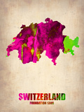Switzerland Watercolor Map Plastic Sign by  NaxArt