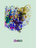 Ohio Color Splatter Map Plastic Sign by  NaxArt