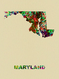 Maryland Color Splatter Map Plastic Sign by  NaxArt