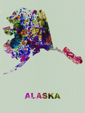 Alaska Color Splatter Map Plastic Sign by  NaxArt
