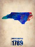 North Carolina Watercolor Map Plastic Sign by  NaxArt