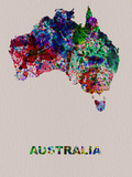 Australia Color Splatter Map Plastic Sign by  NaxArt
