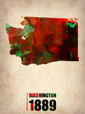 Washington Watercolor Map Plastic Sign by  NaxArt